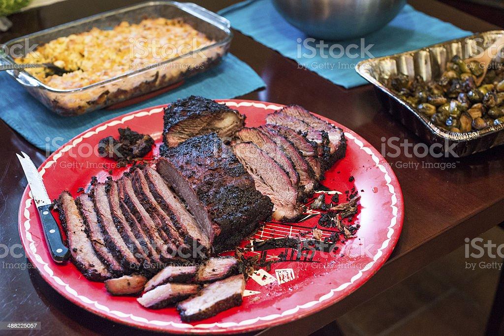 Texas BBQ Brisket Platter stock photo