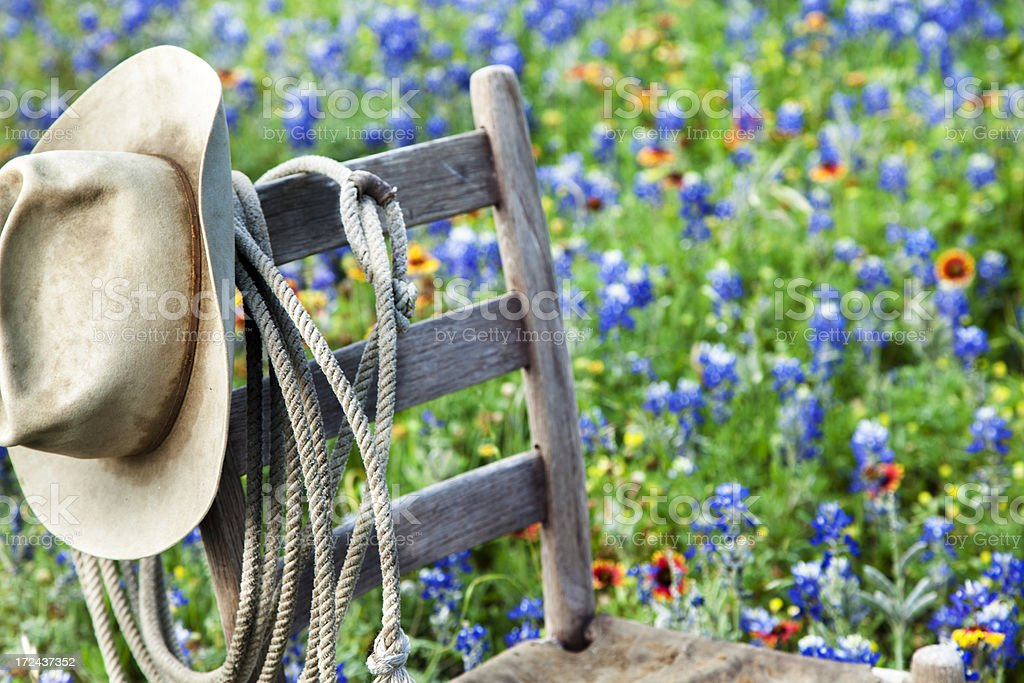 Texas Bluebonnets: Old wooden chair, rope and hat royalty-free stock photo