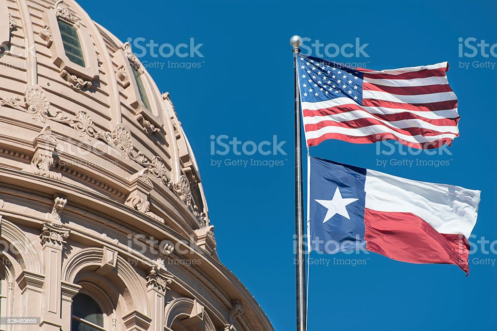 Texas Capitol Building Dome And Flags stock photo