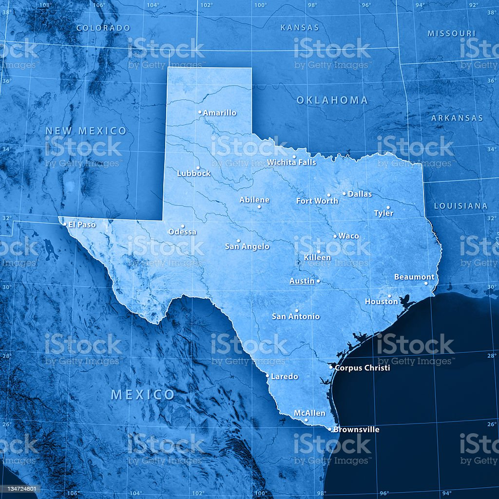 Texas Cities Topographic Map royalty-free stock photo