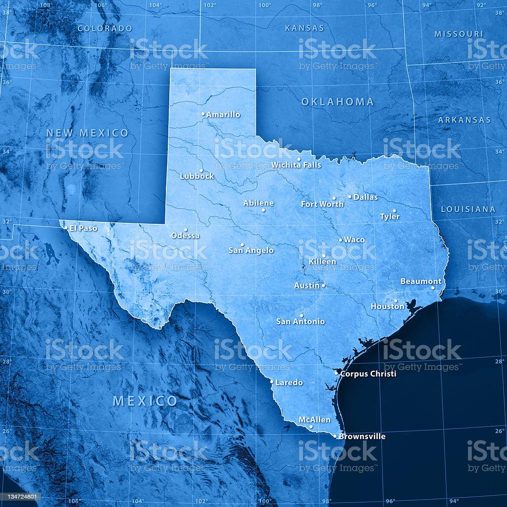 Texas Cities Topographic Map stock photo