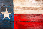 Texas flag made of old wooden boards. Painted. Rustic.