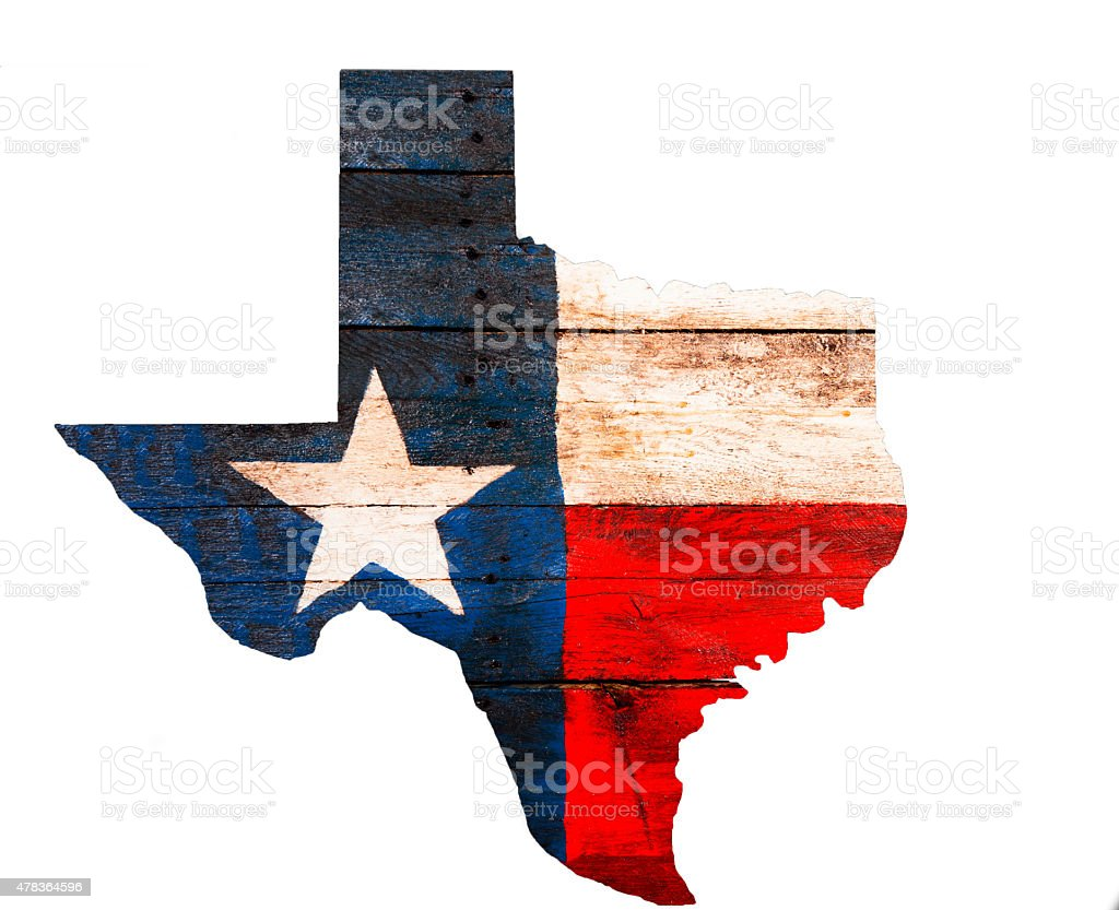 Texas flag made of old wooden boards. Rustic. State outline. stock photo