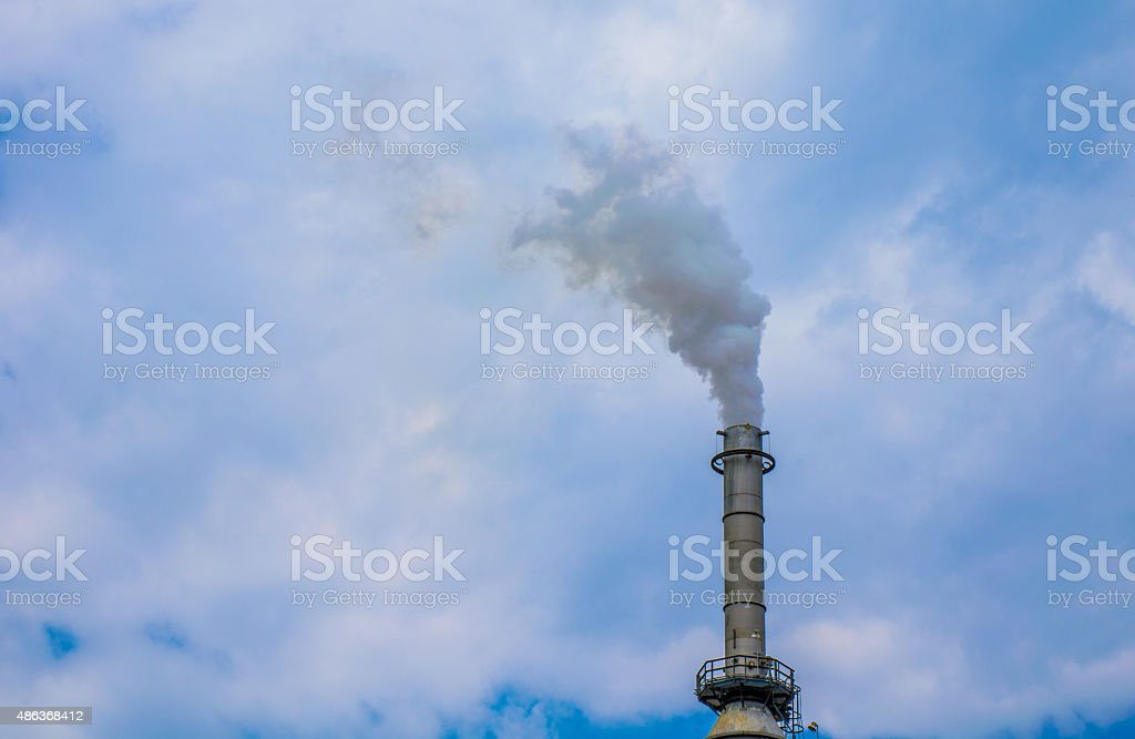 Texas Fossil Fuel Refinery Smoke Stack Close up stock photo