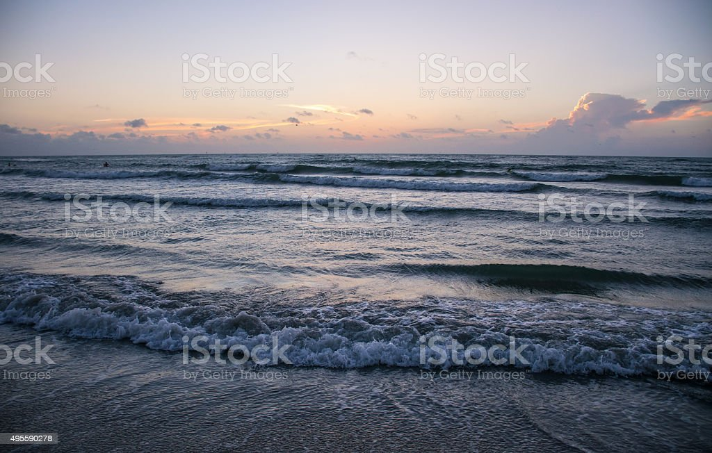 Texas Gulf Beach Padre Island Sunrise Over the Ocean stock photo