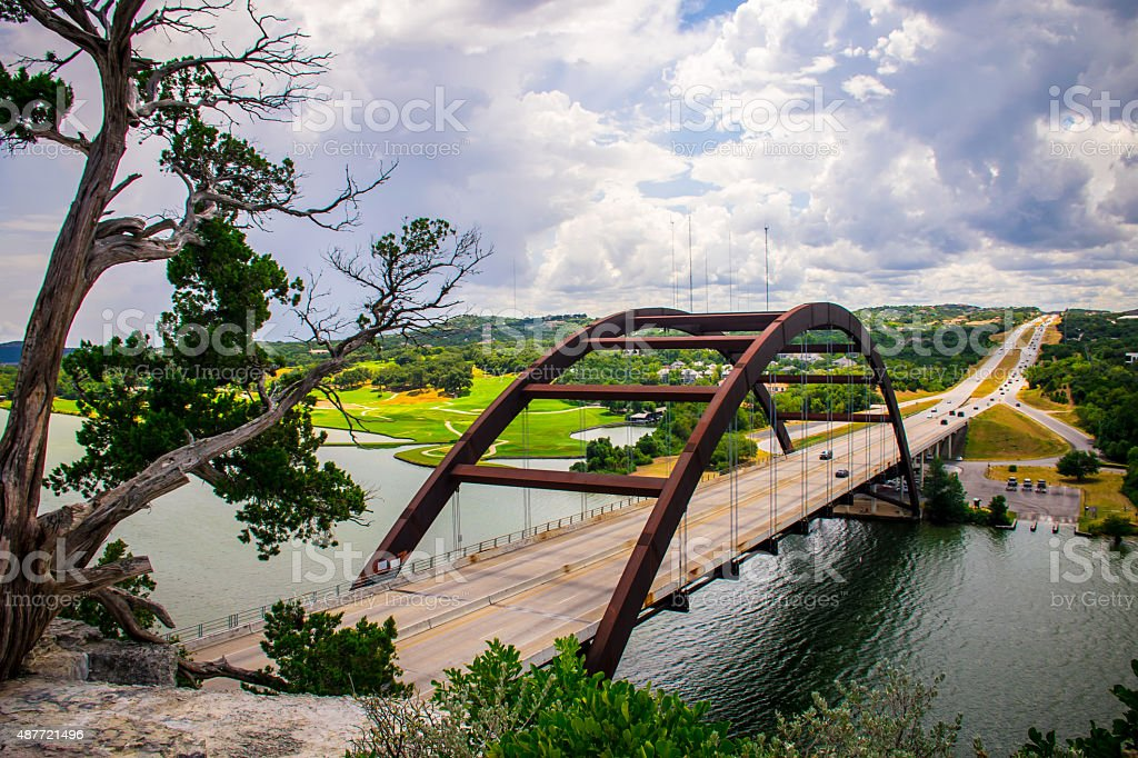 Texas Hill Country 360 Bridge Pennybacker Bridge August 2015 stock photo