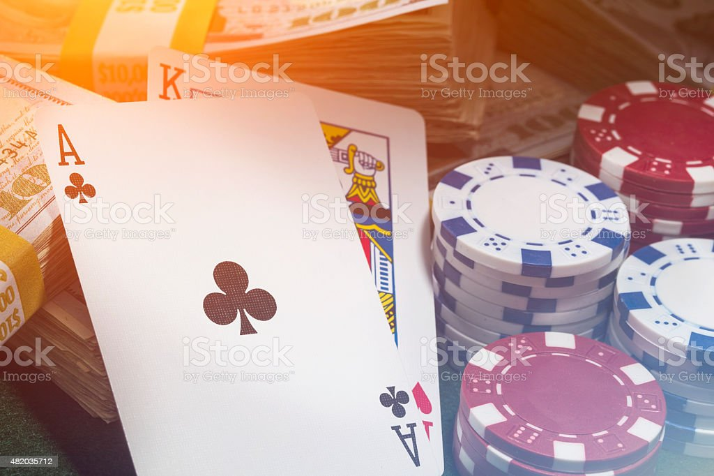 Texas hold em poker with stacks of money stock photo