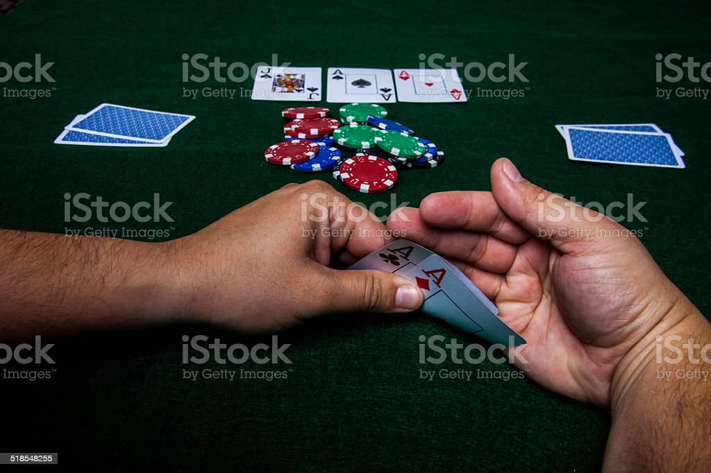 Texas Holdem pocket aces stock photo