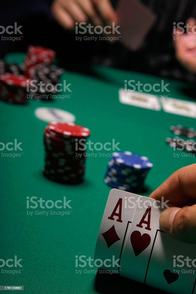 Texas Hold'em Poker Two Aces royalty-free stock photo