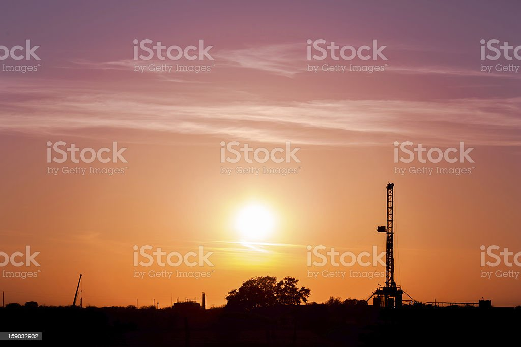 Texas Oil Drilling Platform at Sunset stock photo