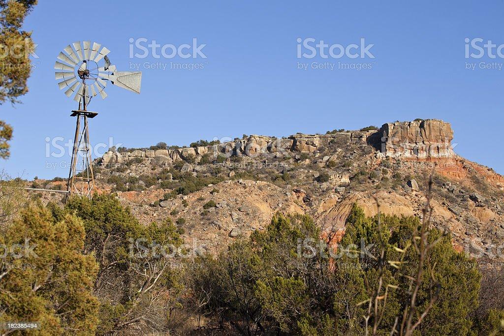 Texas' Palo Duro Canyon State Park Windmill stock photo