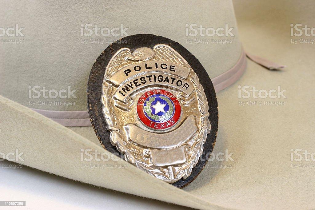 Texas police, shield, badge. Cowboy hat. Investigator. stock photo