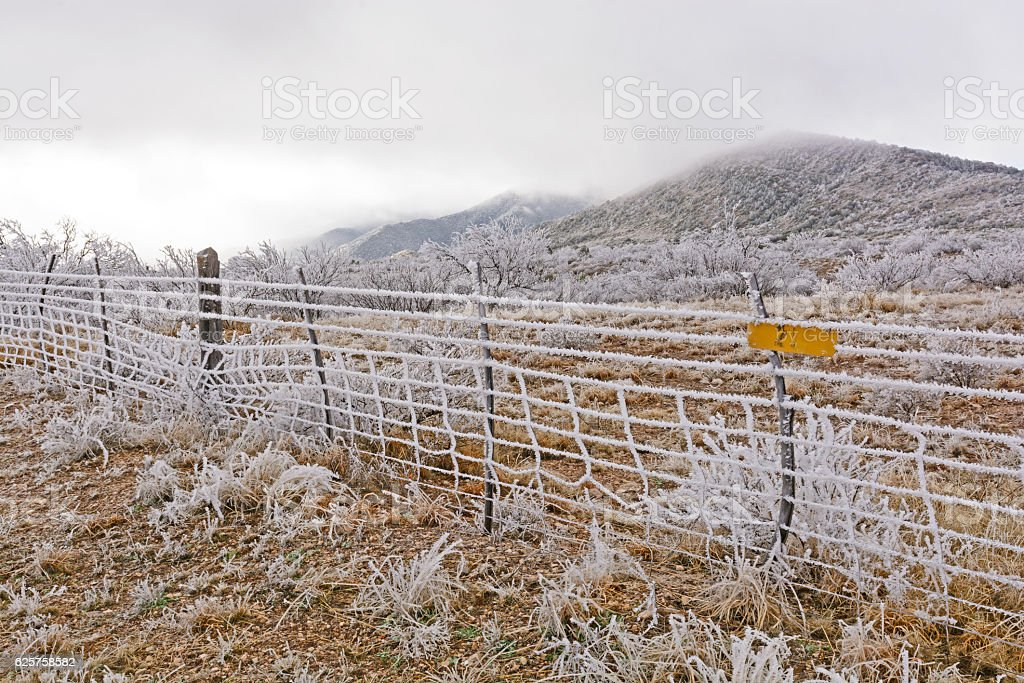 Texas Ranch in an Ice Storm stock photo