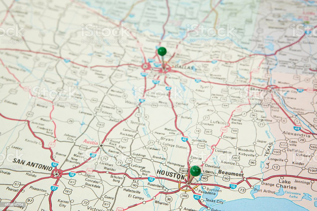 Texas Road Map with Pushpins on Houston and Dallas stock photo