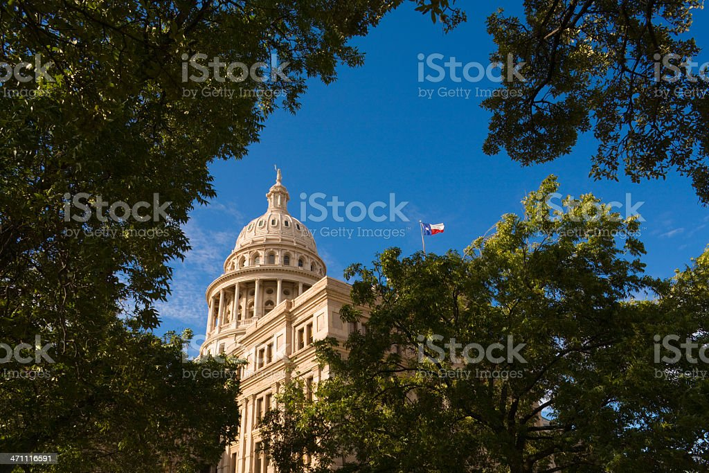 Texas State Capitol Building in Austin with flag royalty-free stock photo