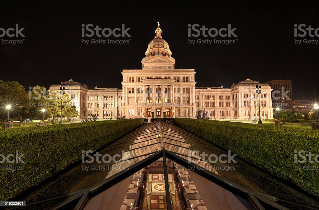 Texas State Capitol Building In Downtown Austin At Night stock photo
