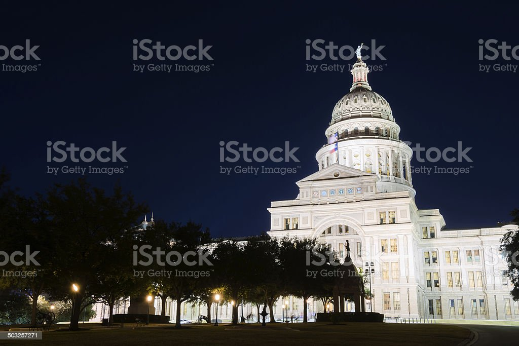 Texas State Capitol in Austin at night royalty-free stock photo