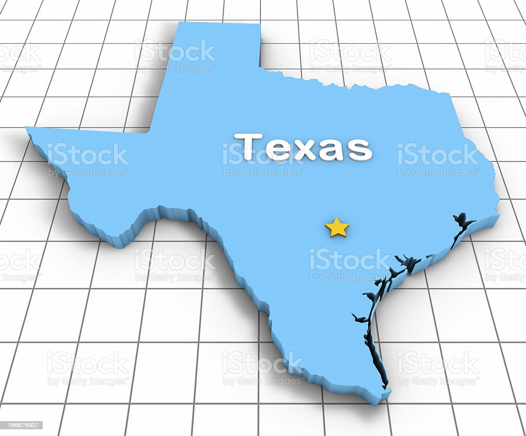 Texas State Map 3D stock photo