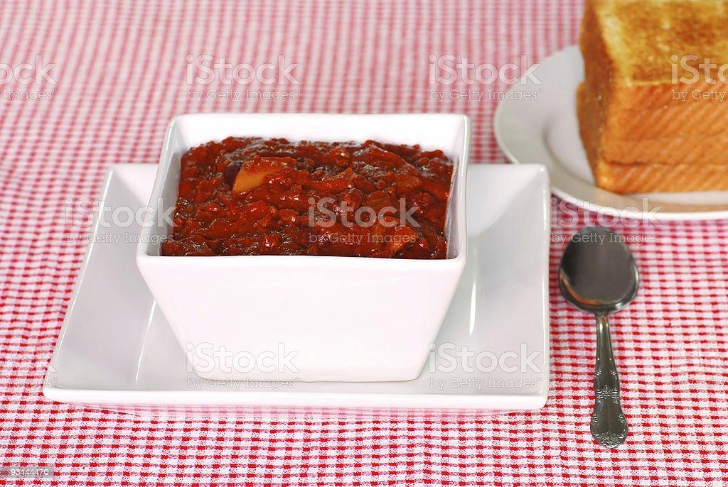 Texas style chili with toast stock photo