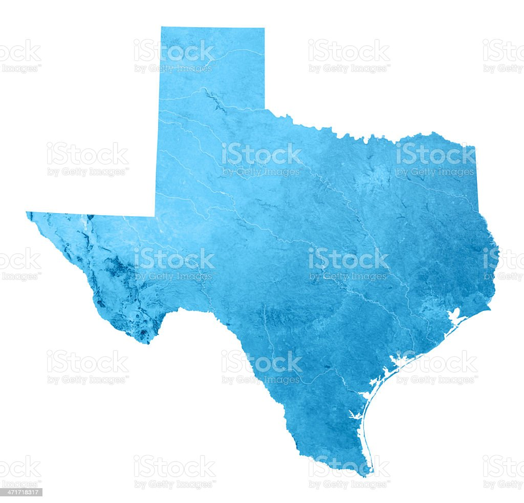 Texas Topographic Map Isolated stock photo