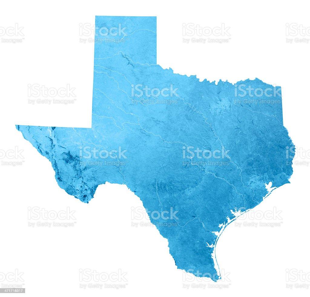 Texas Topographic Map Isolated stock photo