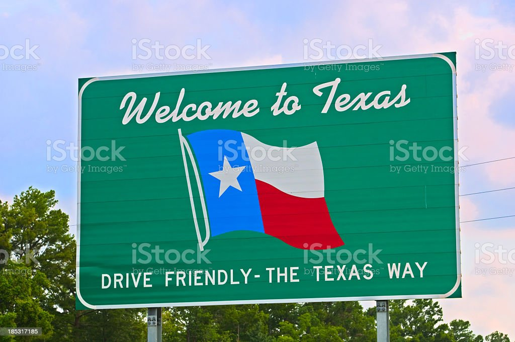 Texas Welcome Sign stock photo
