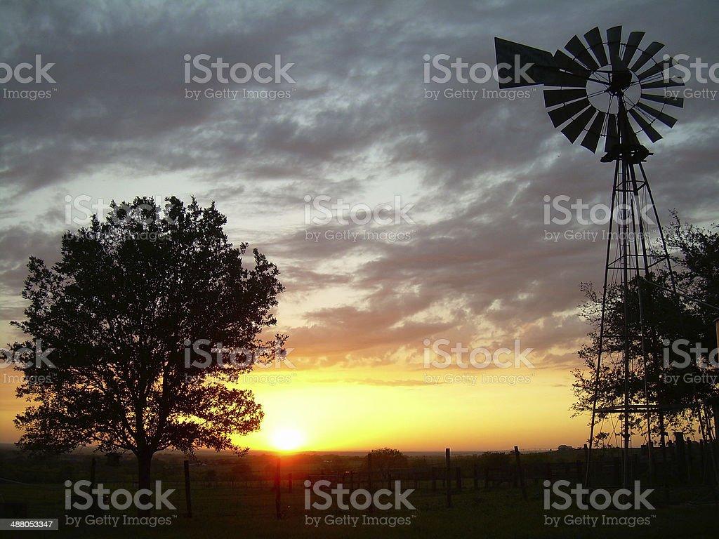 Texas Windmill Sunset stock photo