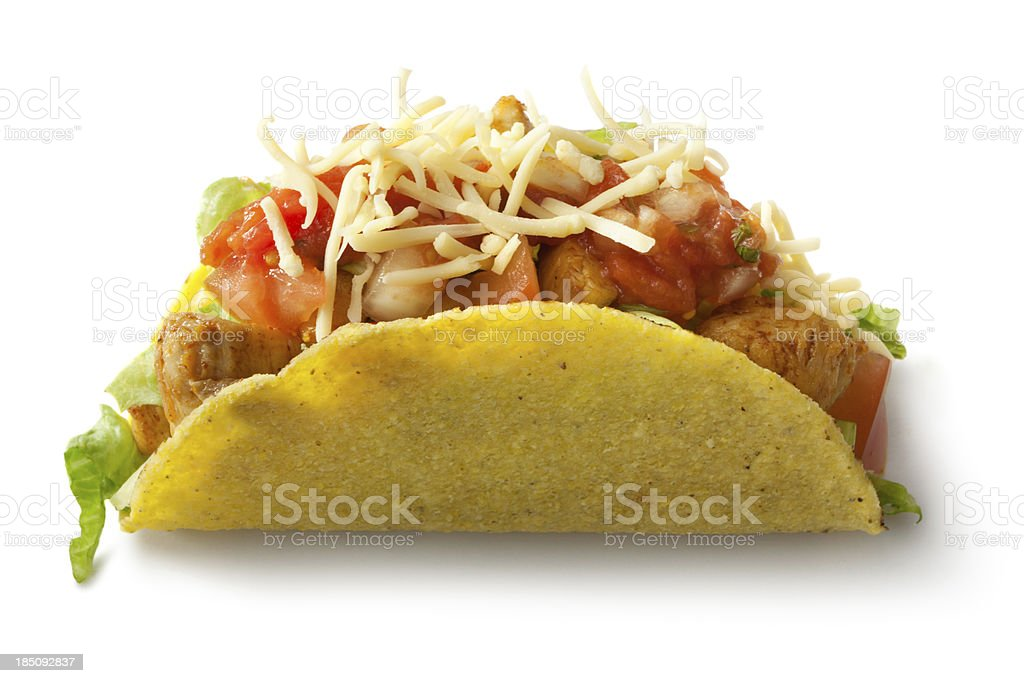 TexMex Food: Chicken Taco Isolated on White Background stock photo