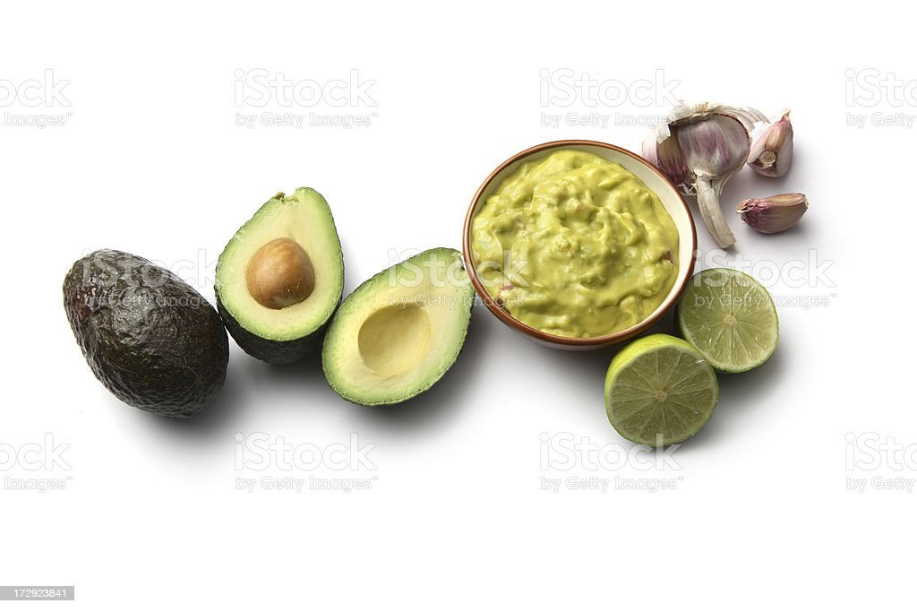 TexMex Food: Guacamole and Ingredients Isolated on White Background royalty-free stock photo