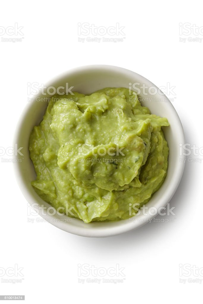 TexMex Food: Guacamole Isolated on White Background stock photo