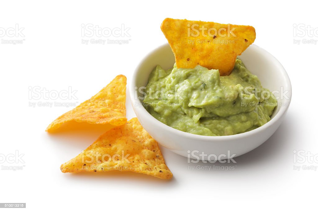 TexMex Food: Nacho Chips and Guacamole Isolated on White Background stock photo