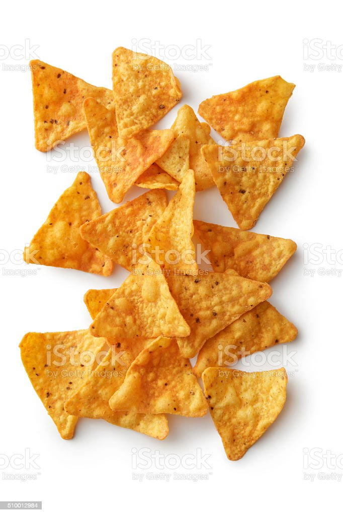 TexMex Food: Nacho Chips Isolated on White Background stock photo