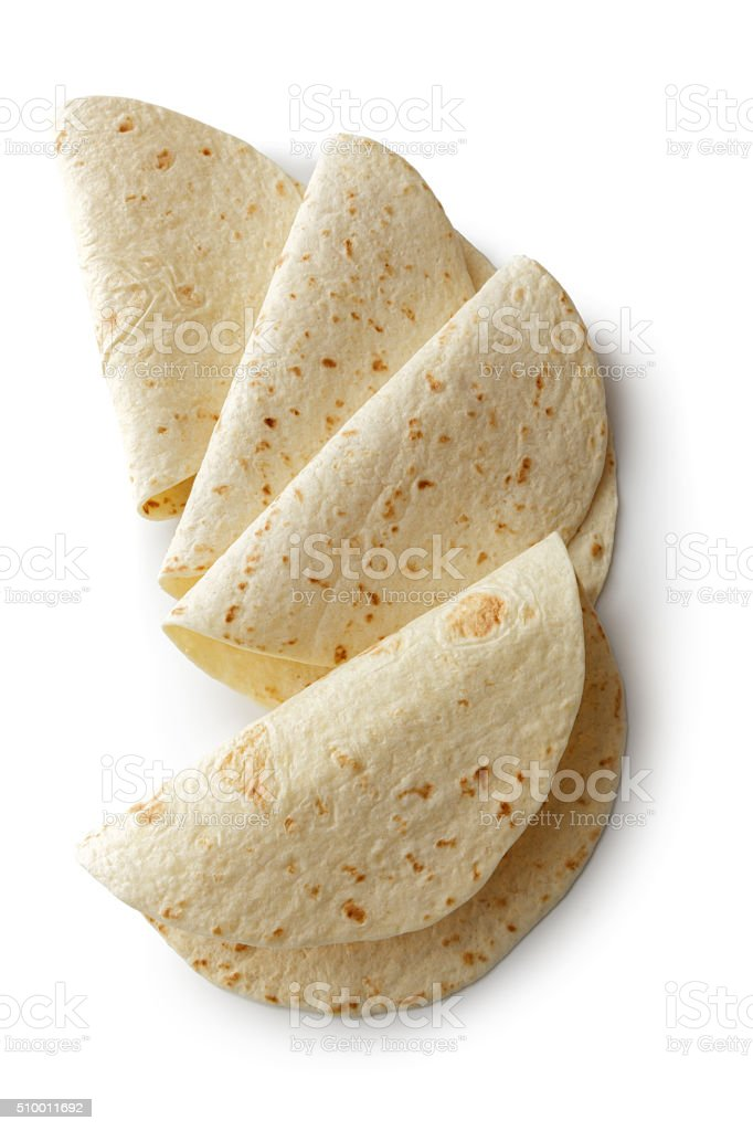 TexMex Ingredients: Tortillas Isolated on White Background stock photo