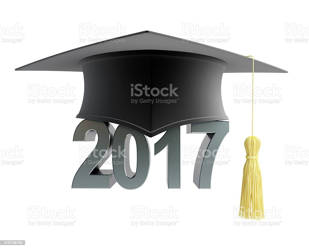 text 2017 with graduation hat. 3d Illustrations stock photo