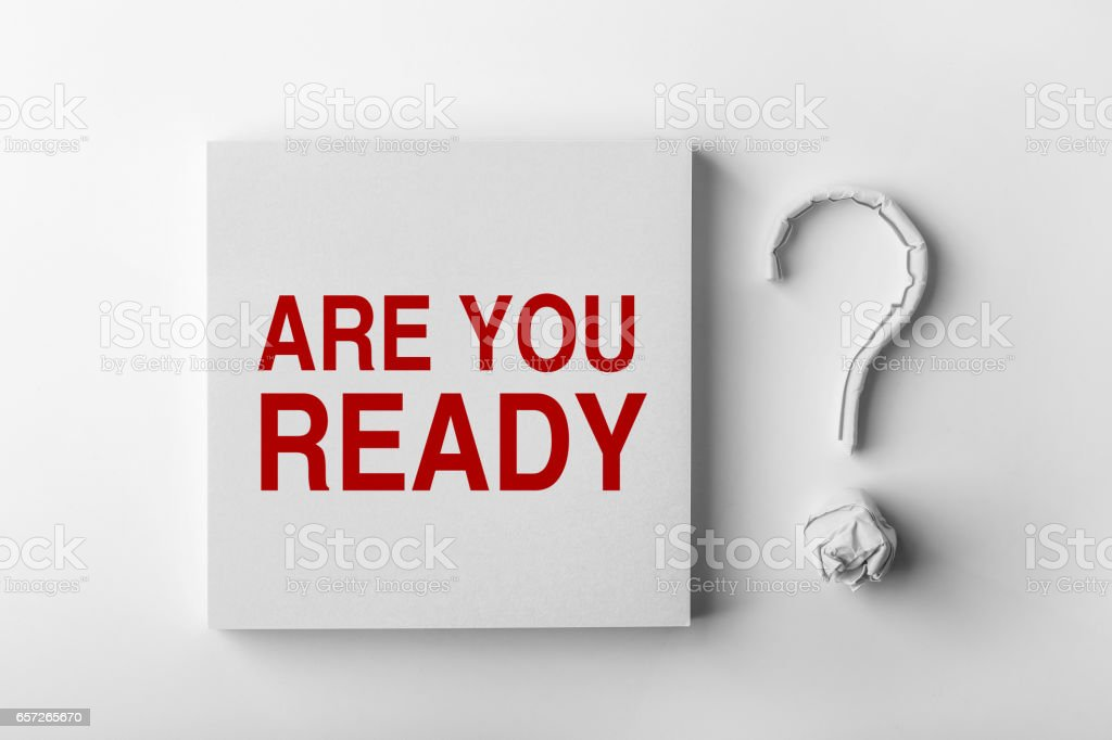Text Are You Ready and Question Mark stock photo