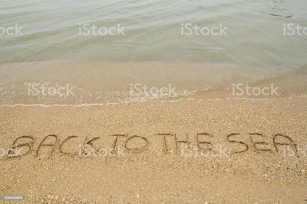 Text Back to the sea on the sandy beach. stock photo