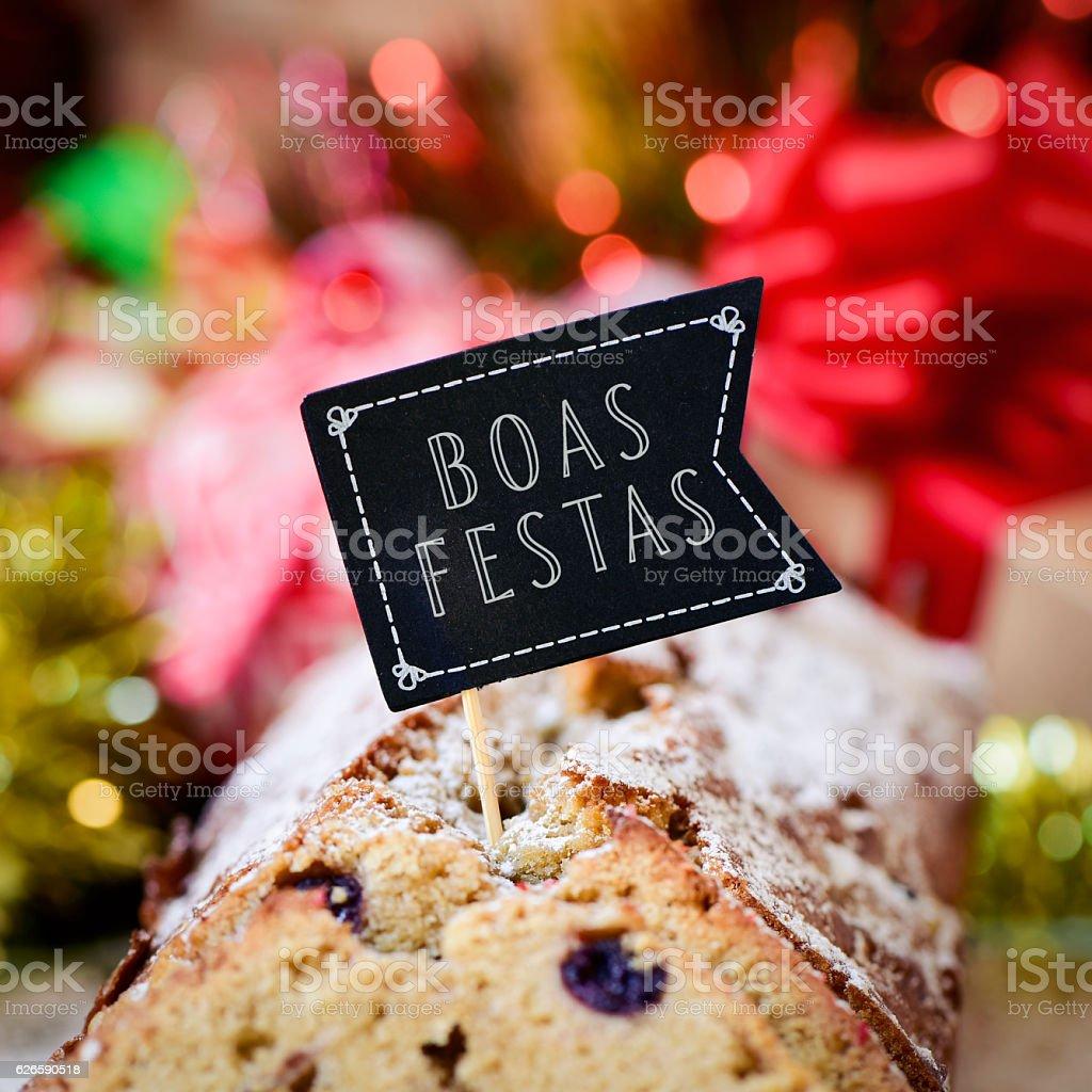 text boas festas, happy holidays in portuguese stock photo