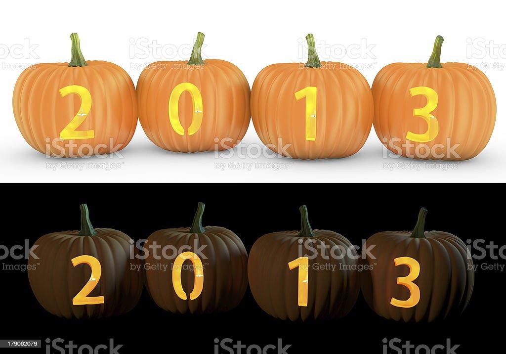2013 text carved on pumpkin jack lantern royalty-free stock photo