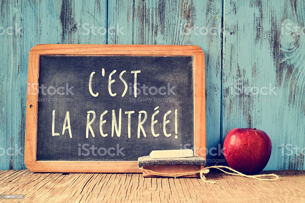 text cest la rentree, back to school in french stock photo