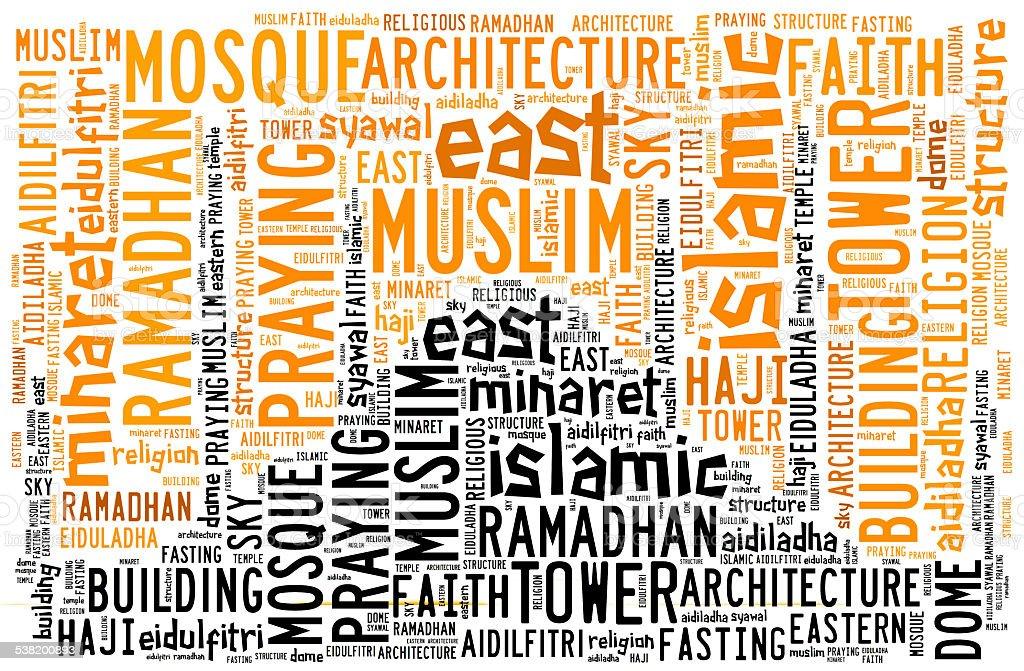 Text cloud and arrangement with mosque shape concept stock photo