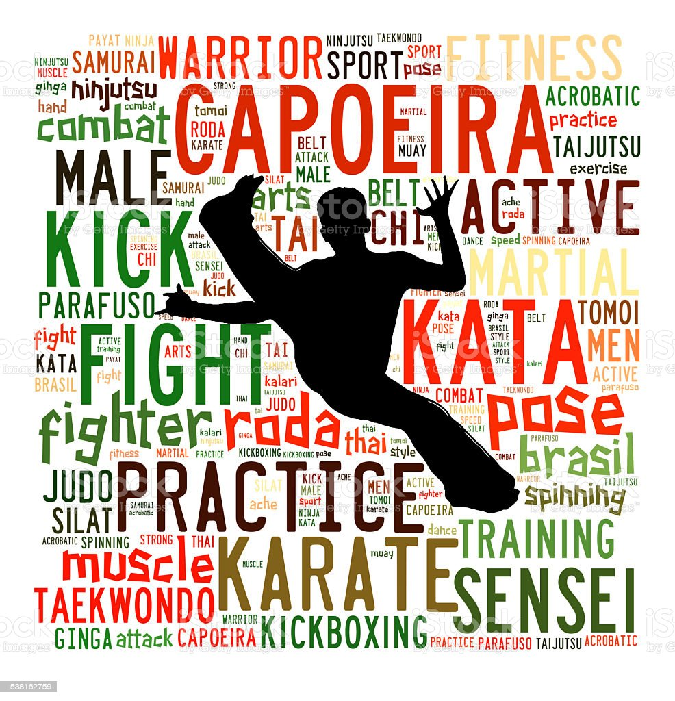 Text Cloud of Martial Arts with shape stock photo