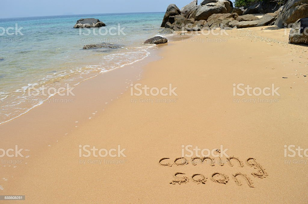 Text 'Coming soon' stock photo