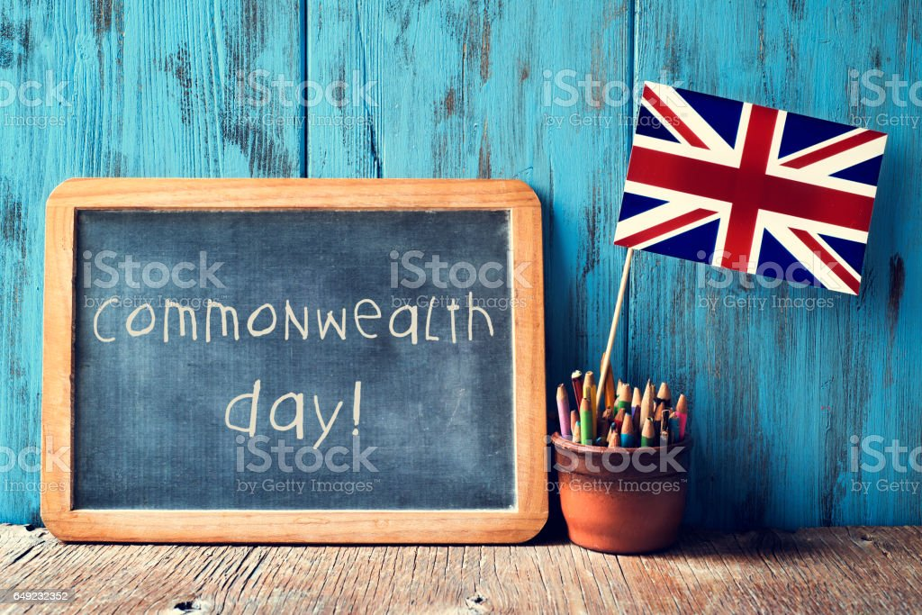 text commonwealth day in a chalkboard stock photo