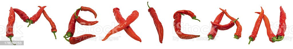 MEXICAN text composed of red chili peppers royalty-free stock photo