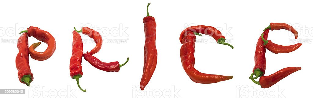 PRICE text composed of red chili peppers stock photo