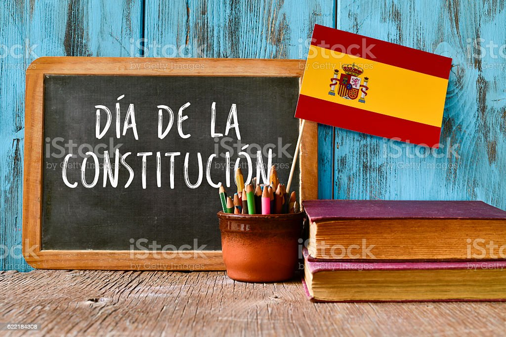 text constitution day written in spanish stock photo