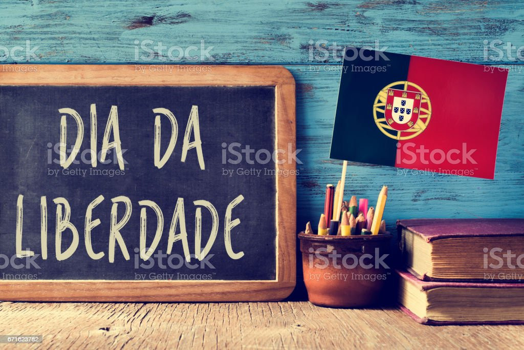 text Dia da Liberdade, a national holiday in Portugal stock photo