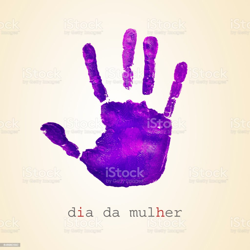 text dia da mulher, womens day in portuguese stock photo