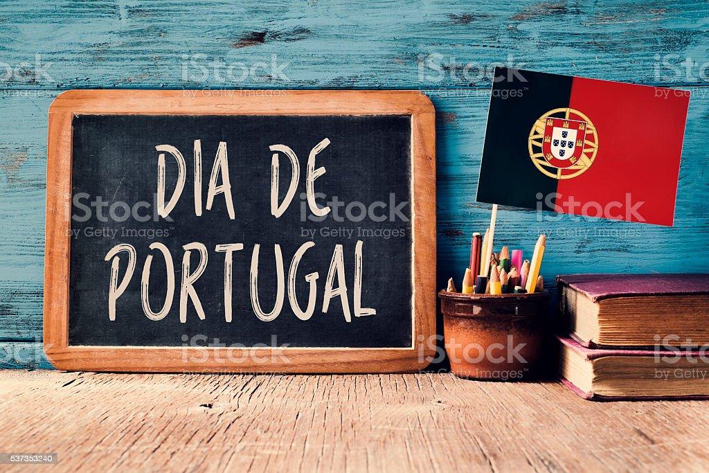 text Dia de Portugal and Portuguese flag stock photo