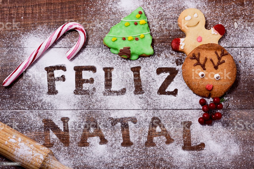 text feliz natal, merry christmas in portuguese stock photo